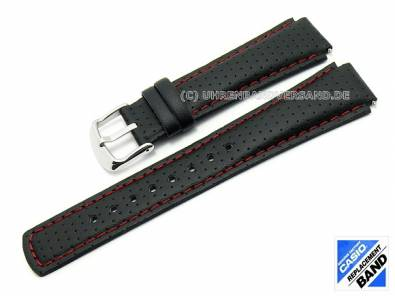 CASIO- replacement strap 17mm black leather (10224471) perforated red stitching for EFA-120L - Bild vergrößern