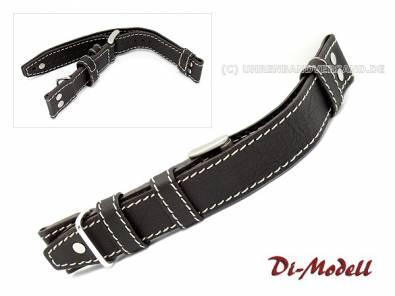 Watch band 22mm black/dark brown Di-Modell -Tornado- Aviator band light stitching with rivets (width of buckle 22 mm) - Bild vergrößern