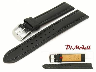 Watch band 20mm black by Di-Modell -Anfibio Polo- waterproof padded anthracite stitching (width of buckle 18 mm) - Bild vergrößern