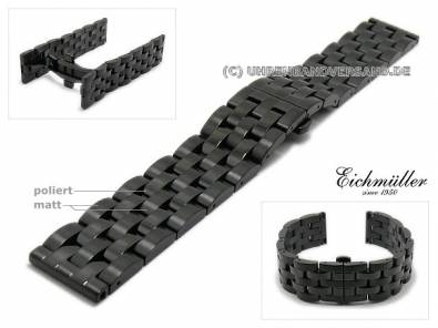 Watch strap 22mm black stainless steel solid partly polished for Breitling by EICHMÜLLER - Bild vergrößern