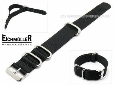 Watch band -NATO- 22mm black one-piece band from Eichmueller (width of buckle 22 mm) - Bild vergrößern