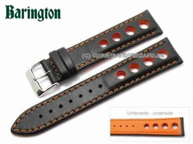 Watch strap -Racing- 22mm black leather orange stitching by Barington (width of buckle 20 mm) - Bild vergrößern