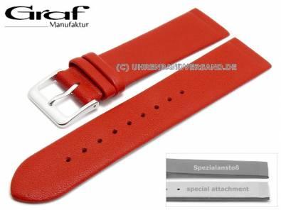Watch strap -Kopenhagen- 16mm red leather special lug ends for screwed casings by GRAF (width of buckle 16 mm) - Bild vergrößern