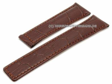 Watch strap 22mm red brown leather alligator grain stitched for TAG Heuer Monaco (width of clasp 18 mm) - Bild vergrößern