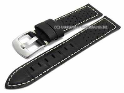 Watch strap 20mm black leather alligator grain racing look light stitching (width of buckle 18 mm) - Bild vergrößern