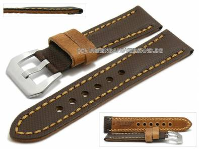 Watch strap 24mm dark brown synthetic/leather textile-look light brown contrast stitching (width of buckle 22 mm) - Bild vergrößern