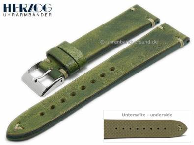 Watch strap -Vintage-Passion- 22mm mossy green leather antique look light stitching by HERZOG (width of buckle 20 mm) - Bild vergrößern