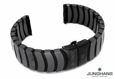 Replacement watch strap JUNGHANS 20mm black ceramic for 018/1031, 018/1032, 018/1110 etc. - Bild vergrößern