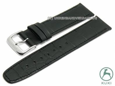 Watch strap 22mm black leather alligator grain stitched very thin by KUKI (width of buckle 20 mm) - Bild vergrößern