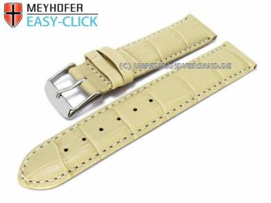 Watch band Meyhofer EASY-CLICK -Marseille- 18mm creme alligator grain white stitching (width of buckle 18 mm) - Bild vergrößern