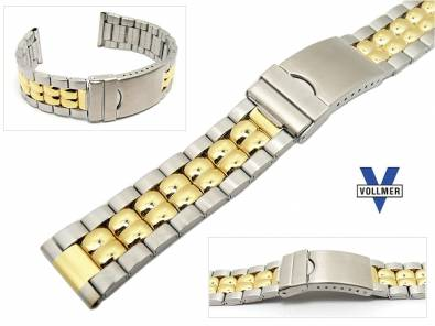 Watch band stainless steel dual tone 20mm deployant clasp partly polished elegant from Vollmer - Bild vergr��ern