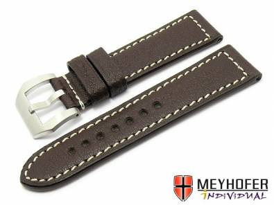 SALE: Watch Strap -Canberra PNR- 26mm dark brown genuine buffalo MEYHOFER (width of buckle 26 mm) - Bild vergrößern