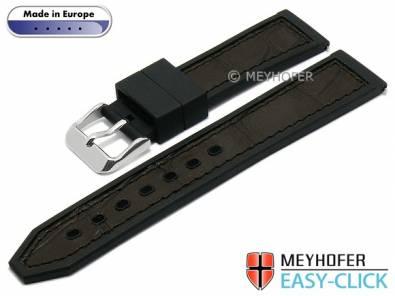 Meyhofer EASY-CLICK watch strap -Ensley- 20mm black/dbrown leather/caoutchouc alligator grain (width of buckle 18 mm) - Bild vergrößern