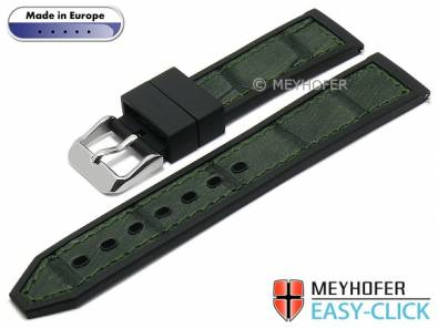 Meyhofer EASY-CLICK watch strap -Ensley- 22mm black/dgreen leather/caoutchouc alligator grain (width of buckle 20 mm) - Bild vergrößern