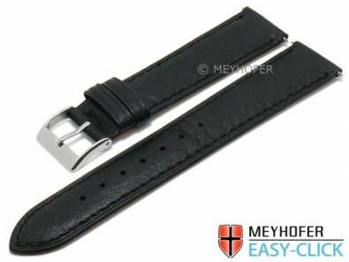 Meyhofer EASY-CLICK watch strap -Acadia- 18mm black leather lightly grain matt stitched (width of buckle 16 mm) - Bild vergrößern