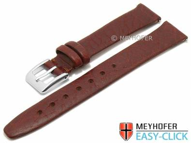Meyhofer EASY-CLICK watch strap -Oroville- 12mm brown leather grained matt (width of buckle 10 mm) - Bild vergrößern