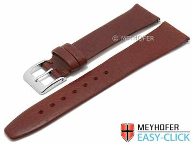 Meyhofer EASY-CLICK watch strap -Oroville- 18mm brown leather grained matt (width of buckle 16 mm) - Bild vergrößern