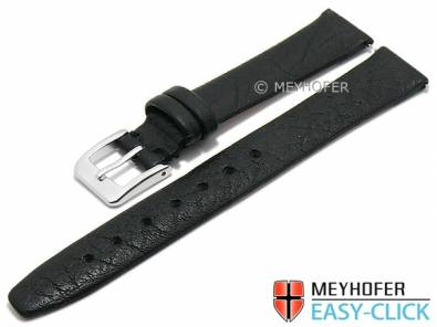 Meyhofer EASY-CLICK watch strap -Oroville- 14mm black leather grained matt (width of buckle 12 mm) - Bild vergrößern