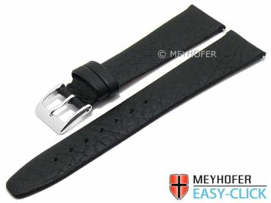 Meyhofer EASY-CLICK watch strap -Oroville- 20mm black leather grained matt (width of buckle 16 mm) - Bild vergrößern