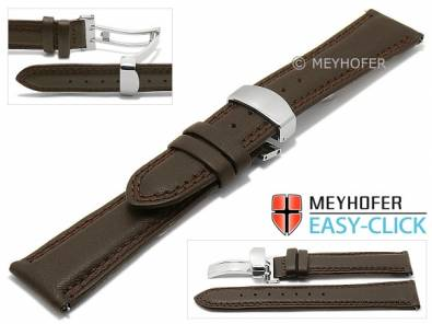 Meyhofer EASY-CLICK watch strap -Keystone- 22mm dark brown leather double stitching with clasp (width of clasp 20 mm) - Bild vergrößern