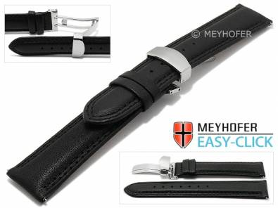 Meyhofer EASY-CLICK watch strap -Keystone- 22mm black leather double stitching with clasp (width of clasp 20 mm) - Bild vergrößern