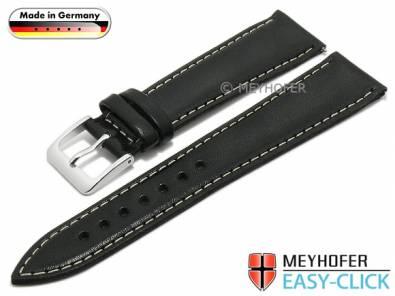 Meyhofer EASY-CLICK watch strap -Rhine- 18mm black leather smooth light stitching (width of buckle 16 mm) - Bild vergrößern