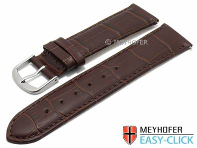 Watch strap Meyhofer EASY-CLICK XS -Biscayne- 18mm dark brown leather alligator grain stitched (width of buckle 16 mm) - Bild vergrößern