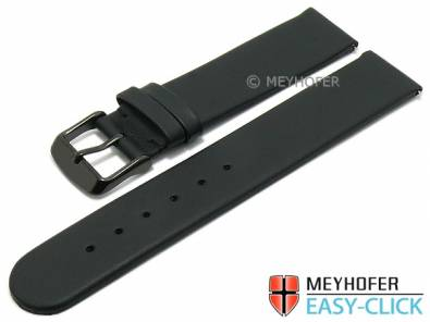 Meyhofer EASY-CLICK watch strap -Nagano- 20mm black leather smooth black buckle (width of buckle 20 mm) - Bild vergrößern