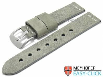 Meyhofer EASY-CLICK watch strap -Redwood Special- 24mm grey leather vintage look light Stitching (width of buckle 24 mm) - Bild vergrößern