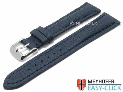 Meyhofer EASY-CLICK watch strap -Hartington- 22mm dark blue genuine deer leather grain stitched (width of buckle 20 mm) - Bild vergrößern