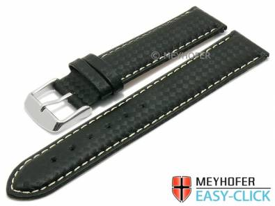 Watch strap Meyhofer EASY-CLICK -Erie- 20mm black leather carbon look light stitched (width of buckle 20 mm) - Bild vergrößern