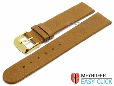 Watch strap Meyhofer EASY-CLICK -Niagara- 16mm brown leather vegetable tanned without stitching (width of buckle 16 mm) - Bild vergrößern