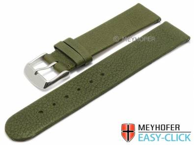 Watch strap Meyhofer EASY-CLICK -Albany- 20mm olive leather vegetable tanned without stitching (width of buckle 20 mm) - Bild vergrößern