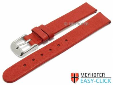 Watch strap Meyhofer EASY-CLICK -Albany- 14mm red leather vegetable tanned without stitching (width of buckle 14 mm) - Bild vergrößern