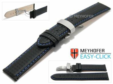 Watch strap Meyhofer EASY-CLICK -Tobin- 20mm black leather carbon look blue stitching clasp (width of clasp 20 mm) - Bild vergrößern