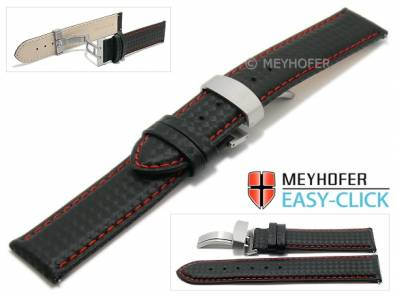 Watch strap Meyhofer EASY-CLICK -Tobin- 20mm black leather carbon look red stitching clasp (width of clasp 20 mm) - Bild vergrößern