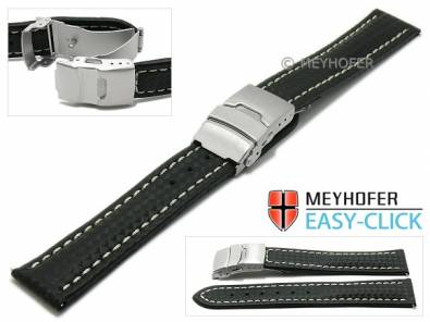 Watch strap Meyhofer EASY-CLICK -Banff- 18mm black leather carbon look light stitching clasp (width of clasp 18 mm) - Bild vergrößern