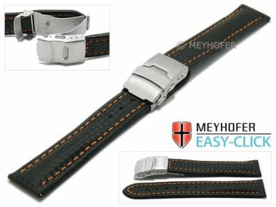 Watch strap Meyhofer EASY-CLICK -Banff- 22mm black leather carbon look orange stitching clasp (width of clasp 20 mm) - Bild vergrößern
