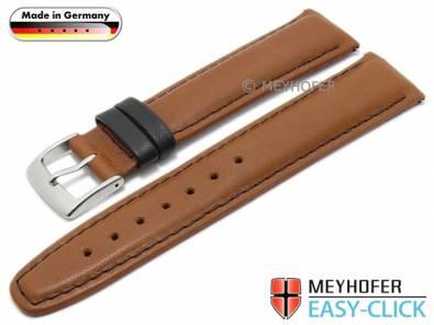 Meyhofer EASY-CLICK watch strap -Izola- 22mm light brown leather smooth black stitching (width of buckle 20 mm) - Bild vergrößern
