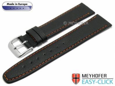 Meyhofer EASY-CLICK watch strap -Save- 24mm black synthetic leather like orange stitching (width of buckle 20 mm) - Bild vergrößern