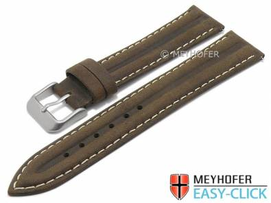 Meyhofer EASY-CLICK watch strap -Paraiba- 20mm dark brown leather vintage look light stitching (width of buckle 18 mm) - Bild vergrößern