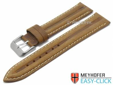 Meyhofer EASY-CLICK watch strap -Paraiba- 20mm light brown leather vintage look light stitching (width of buckle 18 mm) - Bild vergrößern