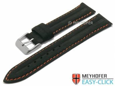 Meyhofer EASY-CLICK watch strap -Paraiba Special- 20mm black leather vintage orange stitching (width of buckle 18 mm) - Bild vergrößern