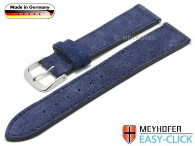 Meyhofer EASY-CLICK watch strap -Neckar- 18mm dark blue leather velour stitched made in Germany (width of buckle 16 mm) - Bild vergrößern