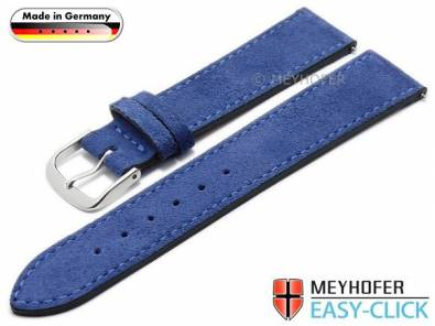 Meyhofer EASY-CLICK watch strap -Neckar- 20mm royal blue leather velour stitched made in Germany (width of buckle 18 mm) - Bild vergrößern