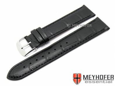 Watch strap -Davos- 22mm black leather alligator grain stitched by MEYHOFER (width of buckle 20 mm) - Bild vergrößern