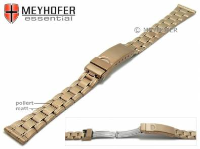 Watch strap -Greenville- 14mm rosé golden stainless steel folded partly polished with clasp by MEYHOFER - Bild vergrößern