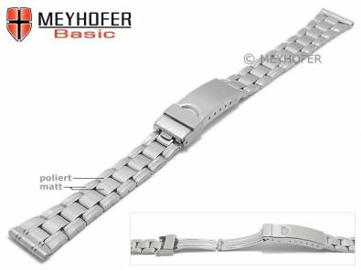 Watch strap -Greenville- 14mm stainless steel folded partly polished with clasp by MEYHOFER - Bild vergrößern