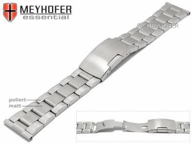 Watch strap -Hillsboro- 22mm stainless steel folded solid look partly polished by MEYHOFER - Bild vergrößern