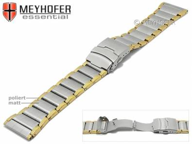 Watch strap -Polson- 26mm dual tone stainless steel solid look folded partly polished by MEYHOFER - Bild vergrößern